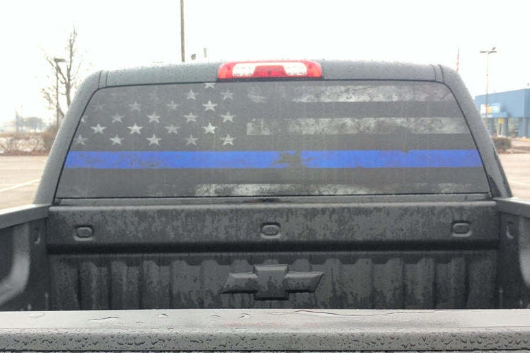 Thin Blue Line Rear Window Graphic Perf Decal Tint Print