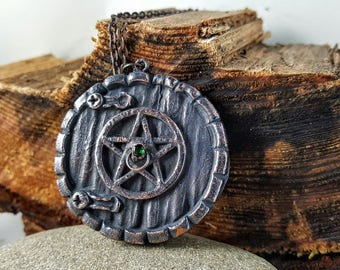 Witch's Door Pentagram  Necklace - Copper Electroformed Organic Natural OOAK Handmade Pendant Necklace - Fantasy Book Hobbit Door Jewelry