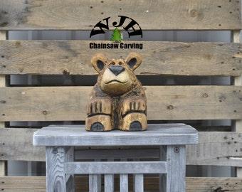 Chainsaw Carved Bear Cub (Koby)