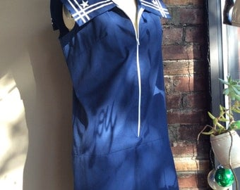 1960s Union Made Navy Pinup Romper / 60s Blue Sailor Playsuit / 1960's Cotton Nautical Jumper 60's Rockabilly Romber Pinup Retro Mid-Century