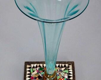 Art Deco Pale Blue Glass Vase with Mosaic Base [5662]