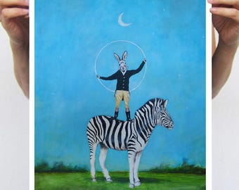 Zebra  print, rabbit print, whymsical print, zebra artwork, rabbit artwork, Alice in Wonderland, Coco de Paris