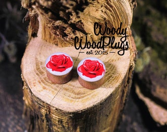 Plugs white Wood ear roses plugs - wooden flowers plugs - ear plugs - light printed plugs - red rose plugs - 10 mm 00g - 12 mm - 1/2'' -14mm