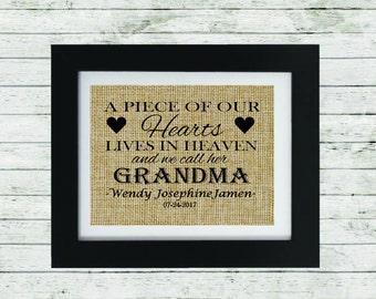 Loss of a Grandparent- Grandma Memorial Gift - Condolence Gift - In Memory of Grandmother - Loss of a Grandma - Personalized Memorial Gift