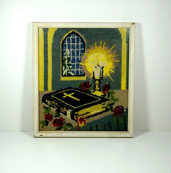 Wall Decor Cross Stitch : Vintage framed art cross stitch needlepoint