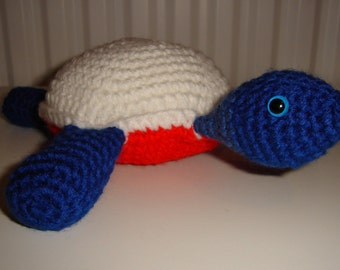 Turtle Tortoise, Crochet Amigurumi, Handmade Soft Toy in Red White and Blue