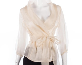 Rouge cream sheer silk fantastic wrap around blouse