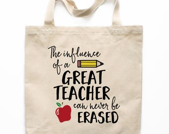 Teacher Gift, Teacher Tote Bag, Canvas Tote Bag, Printed Tote Bag, Market Bag, Shopping Bag, Reusable Grocery Bag 0120