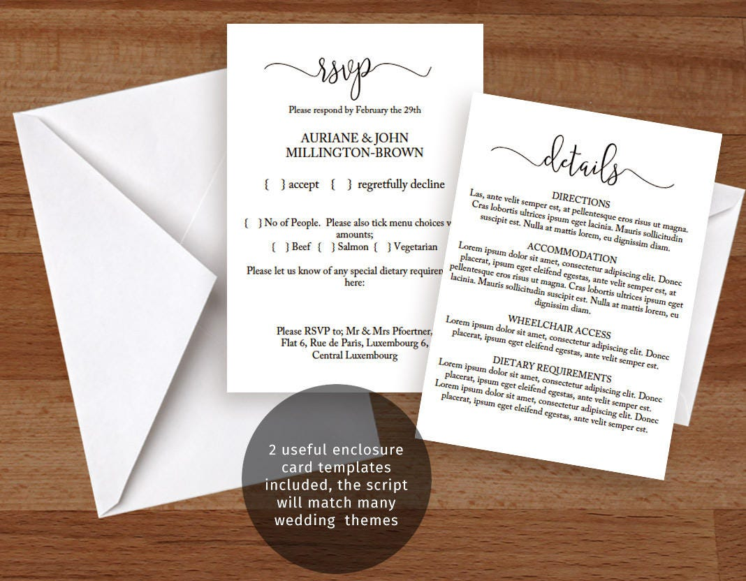 rsvp card templates for word
