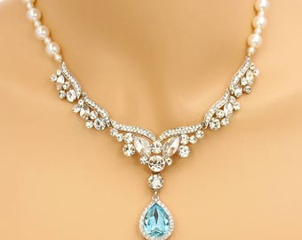 Wedding Necklace Aqua Blue Crystal Swarovski Pearl Rhinestone Necklace Bridal Jewelry Wedding Jewelry Bridal Necklace Teardrop Necklace