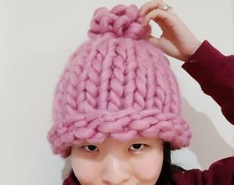Super Chunky Knit Hat - Korean Fashion - Helsinki Hat - Pink