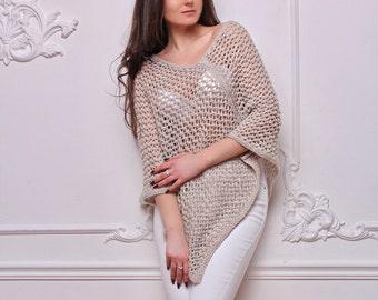 Sale! Wool Knitted Poncho - Hand knit poncho - Fashion Knitting - Gray Poncho - Italian yarn -Light gray poncho - Fashion Poncho