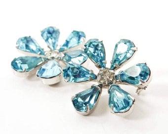 Blue Rhinestone Brooch Set | Floral Bridal Jewelry | Vintage Crystal Flower Pins | Something Blue | 1960s Wedding Accessories