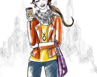 Coffee Girl with City Backdrop