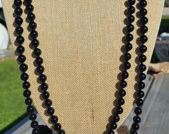"""60"""" Long Onyx Gemstone Necklace, Extra Long Black Onyx Beaded Necklace, 60"""" Black Onyx Necklace, Long Onyx Gemstone Knotted Necklace"""