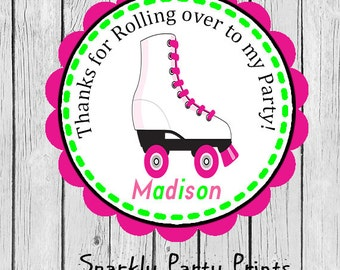 Roller Skating Party Stickers, Roller Skating Stickers, Roller Skating Thank You Stickers, Birthday Stickers, Printed and Shipped