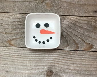 Snowman Jewelry Dish, Ring Dish, Personalized Ring Dish, Customized Jewelry Dish, Jewelry Dish, Secret Santa, Jewelry Holder, Christmas