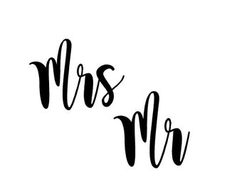 Free Sh | Mr and Mrs Decals | Engagement Gift | Bridal Gift