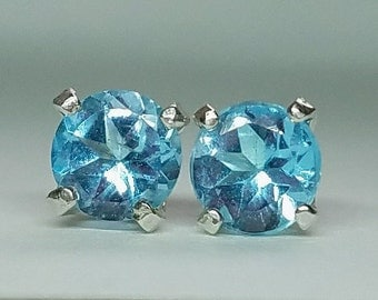 Sterling Silver 4mm Round Faceted Sky Blue Topaz 4 Prong Stud Earrings