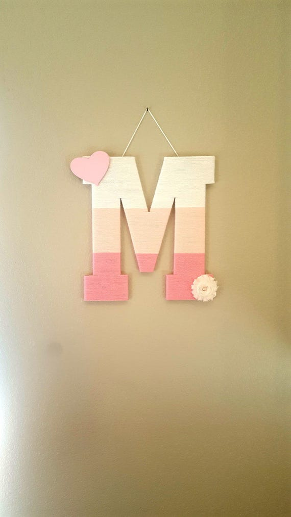 Nursery Letter M, Ombre Yarn Letter, Pink Wood Letter, Pink Wooden ...