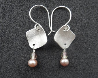 Silver Earrings With Pink Pearls and Vintage Beads