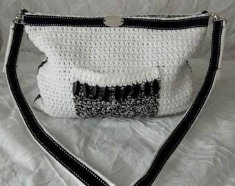 Black and White Crochet Purse