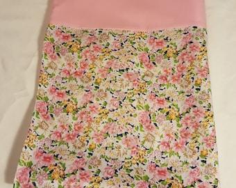 Pink Floral, vintage look,  Pillowcase Cotton blend, standard size