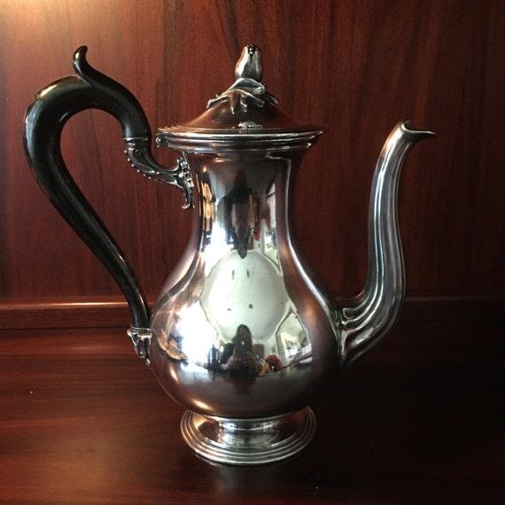 Rare Elegant Art Nouveau Christofle France Silver-Plate Tea/Coffee Pot circa 1880