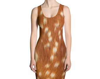 Deer Dress - Deer Fur Print Dress - Fawn Dress - Deer Costume - Deer Leggings - Halloween Costume - Womens Dress - Halloween Dress