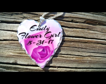 Flower Girl Necklace, Personalized Gift, Flower Girl Gift, Girl Gift, Customized Gift, Heart Necklace, Personalized Necklace