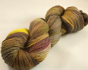 "Hand Dyed Sock Yarn, Superwash Wool & Nylon ""Crusty Lichens"""