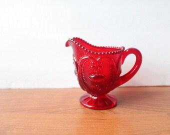 Vintage Red Glass Creamer ON SALE