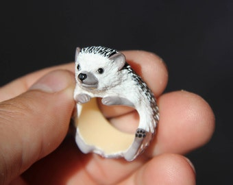 Hedgehog Ring/ Cute Hedgehog Ring, Realistic Hedgehog Ring, Miniature Hedgehog Ring, Plastic Hedgehog Ring, Hand Painted Hedgehog Ring