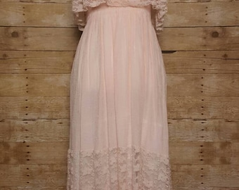 Strapless Boho Lace Maxi Dress Size Small Gauzy Peach Ruched Peasant Gypsy Chic Festival 90s
