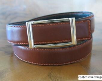 Raised Bridle Leather Belt/Parisian Buckle