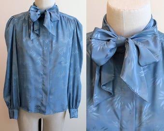 Vintage 1980s Blue Bow Tie Blouse