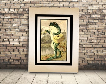 High Resolution Poster Digital Download Vintage Toad with Fishing Pole. Wall Art or Home Decor of Frog Fisherman. Perfect for loves to fish.