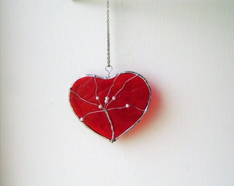 Red Heart, suncatcher, Stained Glass, Sun Catcher, Love Hearts, Handmade unique, best selling gift, housewarming, window hanging art, mobile