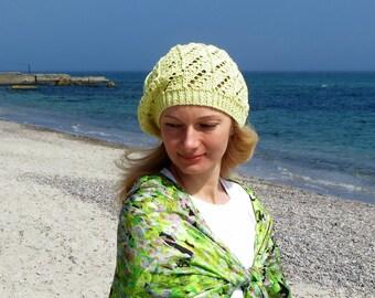 French beret hat lemon hat yellow beanie hat knit beret crochet beret boho clothing bohemian clothing women cotton clothing boho wedding hat
