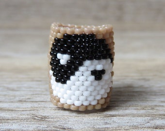 Yin and yang amulet black and white cappuccino dreadlocks ring