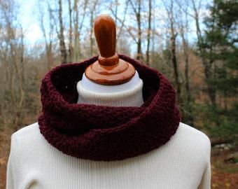 Burgundy Crochet Infinity Scarf, Circle Scarf, Winter Fashion, Womens Infinity Scarf, Neckwarmer