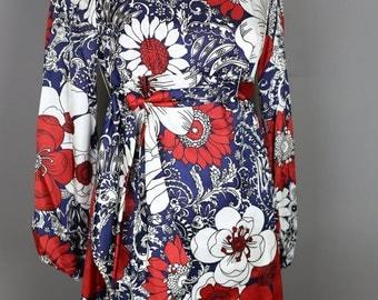 1960s MOD RED FLORAL print dress