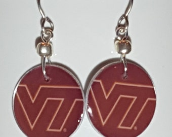 Virginia Tech Hokies earrings, Virginia Tech Hokies jewelry, Virginia Tech, school spirit jewelry