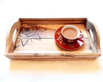 Wooden Tray - Rustic Tray, Serving Tray, Wooden Tea Tray, Tea Tray, Breakfast Tray, Boho, Mandala, Pyrography, Reclaimed Wood Tray