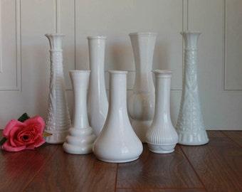 Vintage Milk Glass Bud Vase, Wedding Decor, Farmhouse Decor, Vintage Wedding Decor, Wedding Gift, Centerpiece, Bridal Shower