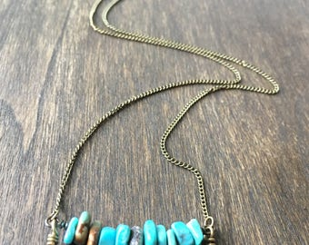 Turquoise Chip Tribal Necklace, Bohemian Turquoise Necklace, Bohemian Beaded Necklace, Turquoise Bar Necklace, Beaded Bar Necklace