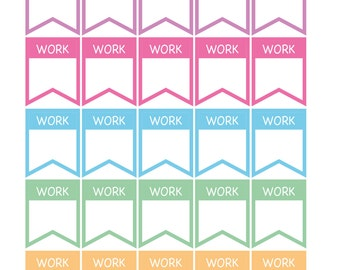 25 x Work Flags Schedule Work TO Hours Total Planner Stickers Organiser Reminder Payday