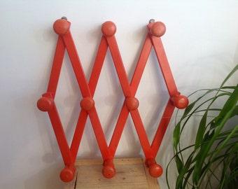 Accordian peg rack, orange folding rack, wood wall rack, wood hanger, kitchen rack, retro coffee mug holder