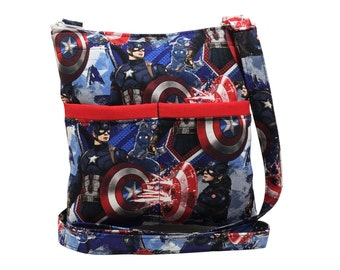 Captain America Crossbody Bag // Sling Bag // Crossbody Purse // Shoulder Bag // Hipster