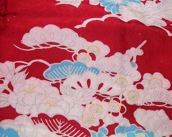 239: Japanese vintage kimono/silk fabric/flower/blue/red/white/peony/pine/ume/chrysanthemum
